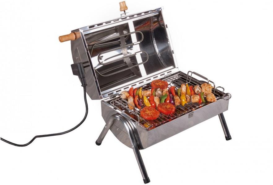 Elektro Räucherofen und Grill im Einsatz beim Grillen von Spießen