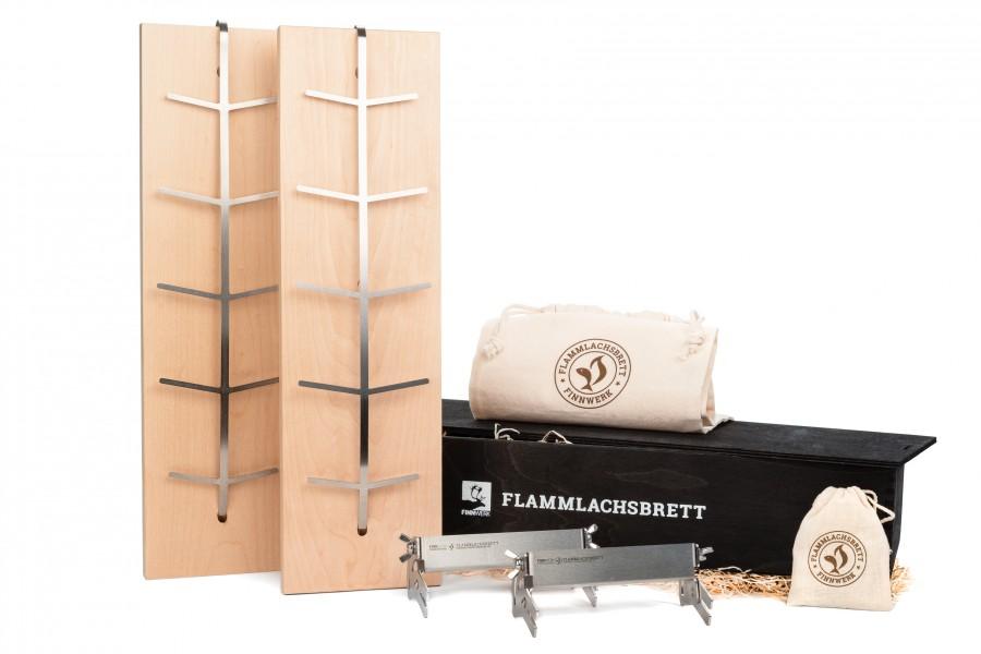 Flammlachs Doppelset Geschenkbox Black in dekorativer schwarzer Holzbox massiv zur Aufbewahrung und als Geschenk