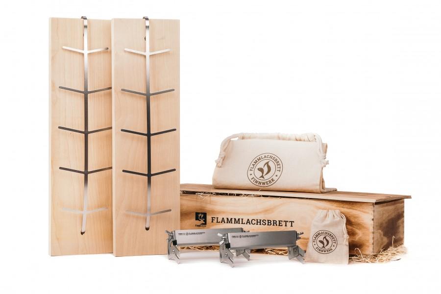 Flammlachsbrett Doppelset mit limitierter Holz-Geschenkbox in neuer Auflage von FInnwerk