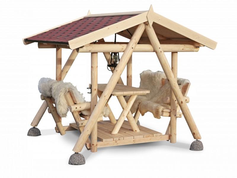 Gartenschaukel Nemo - Hollywoodschaukel mit Grill und Pavillon aus massivem Holz Grillschaukel