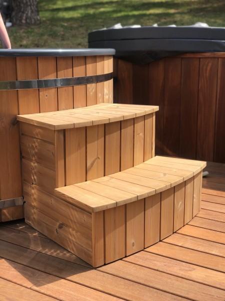 Holztreppe Typ2 ideal um den Sandfilter zu Verstecken