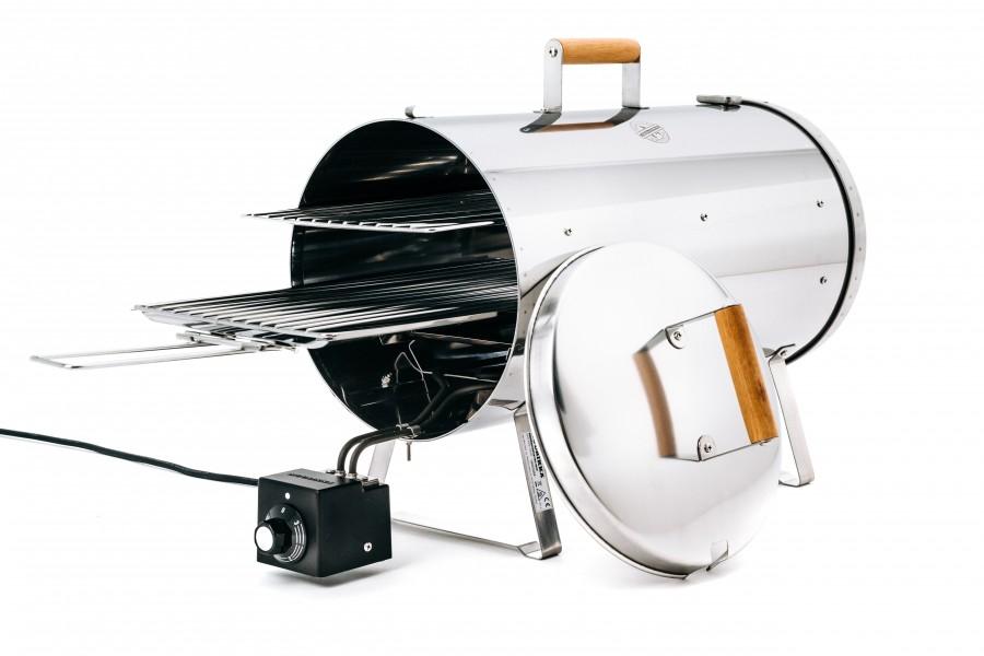 Muurikka 1200PRO Smoker - geöffnet, mit zwei Ebenen und Leistungsregler zur Temperatursteuerung