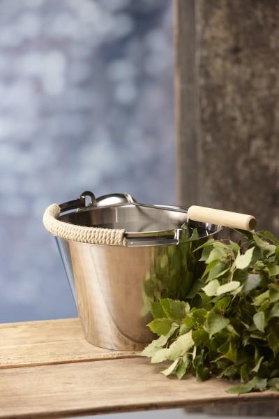 Sauna Aufgusskübel aus rostfreiem Stahl mit Seilgriff, Schöpfkelle und Birkenzweigen