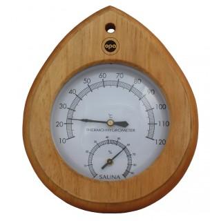 Opa Lumo Sauna-Thermo-Hygrometer Tropfen Dunkel
