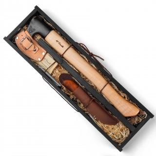 Geschenkset Axt mit langem Stiel + UHC Tischlermesser