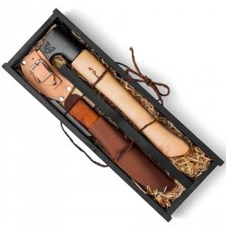 Roselli Outoor-Axt als Geschenkset mit Jagdmesser - Komplettset für Otdoor