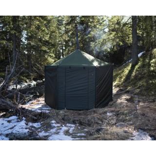 Zeltsauna Hiisi 4 hexagonal Freisteller mobile Sauna Savotta für unterwegs