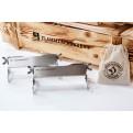 Flammlachsbretthalterung aus Edelstahl original Finnwerk mit Winkelsystem zur Garwinkeleinstellung