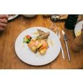 Servierbeispiel - Portion Flammlachs mit Ofenkartoffeln - Besonderes Dinner