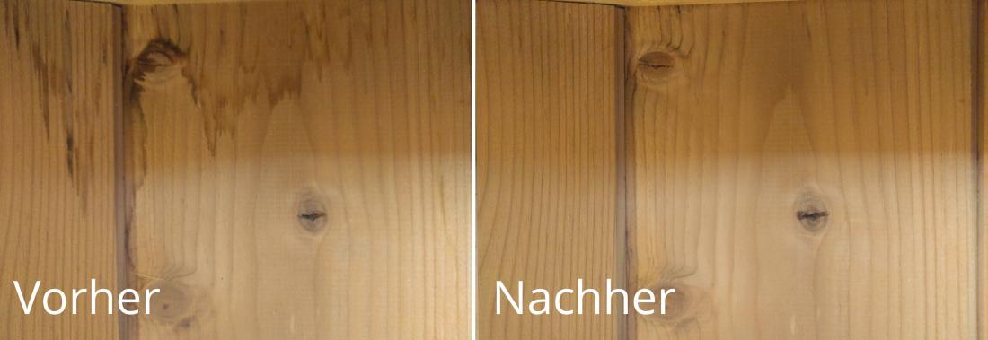 Vorher und nachher Bild zeigt effektivität des Holzreinigers