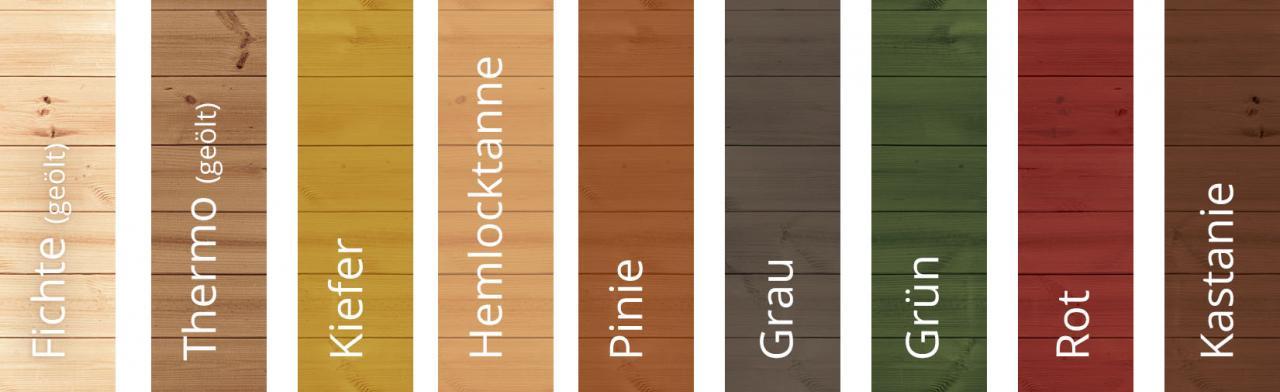 Farbfächer, Farben der Fasssauna