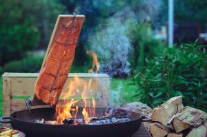 Lachs gart am Feuer