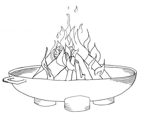 Zeichnung einer Feuerschale mit Feuer