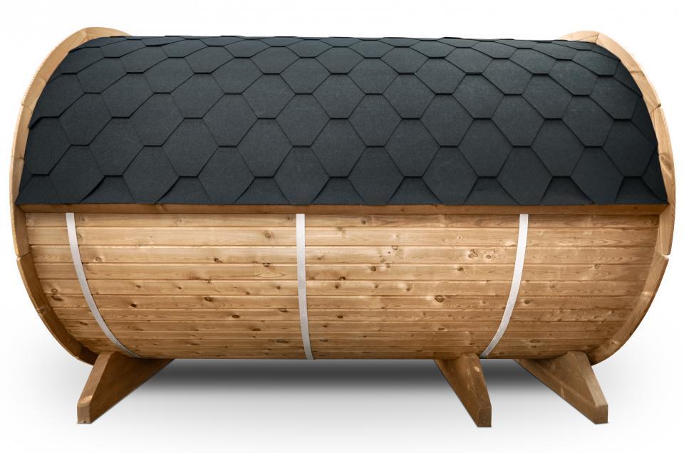 Seitenansicht einer Fass Sauna